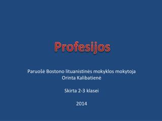 Paruošė Bostono lituanistinės mokyklos mokytoja  Orinta Kalibatienė Skirta 2-3 klasei 2014