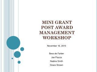 MINI GRANT  POST AWARD MANAGEMENT WORKSHOP