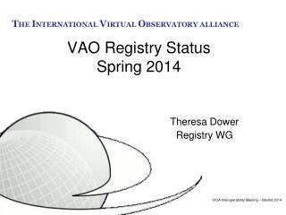VAO Registry Status Spring 2014