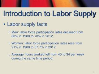 Introduction to Labor Supply