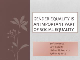 Gender equality is an important part of  social  equality
