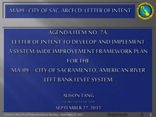 MA09 - City of Sac, ARCFCD:  letter of intent