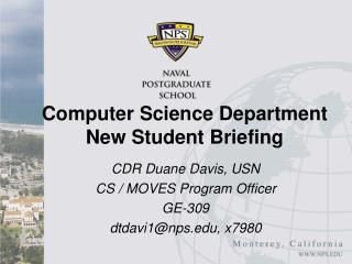 Computer Science Department New Student Briefing
