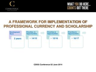 A FRAMEWORK FOR IMPLEMENTATION OF PROFESSIONAL CURRENCY AND SCHOLARSHIP