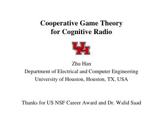 Cooperative Game Theory  for Cognitive Radio