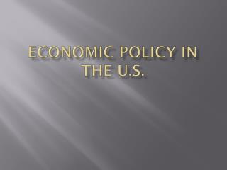 Economic Policy in the U.S.