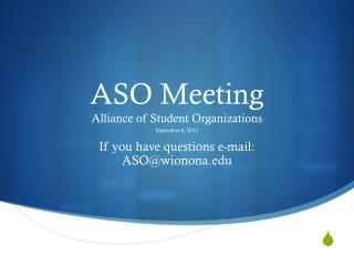 ASO Meeting Alliance of Student Organizations