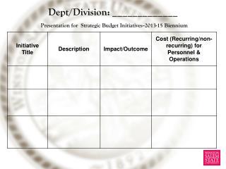 Dept/Division: _____________ Presentation for  Strategic Budget Initiatives--2013-15 Biennium