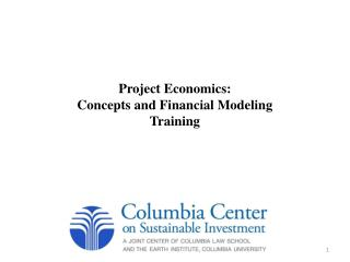Project Economics:  Concepts and Financial Modeling Training