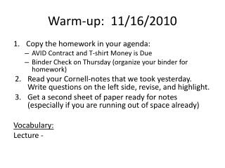Warm-up:   11/16/2010