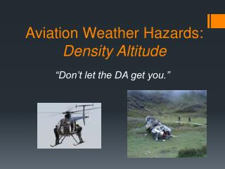 Aviation Weather Hazards: Density Altitude