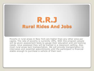 R.R.J Rural Rides And Jobs