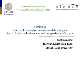 Taehyun Jung  taehyun.jung@circle.lu.se CIRCLE, Lund University