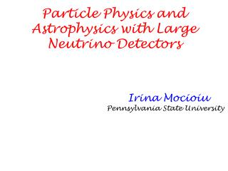 Particle Physics and Astrophysics with Large Neutrino Detectors