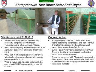 Entrepreneurs Test Direct Solar Fruit Dryer
