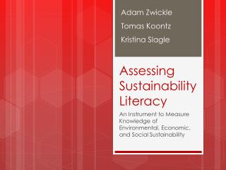 Assessing Sustainability  Literacy