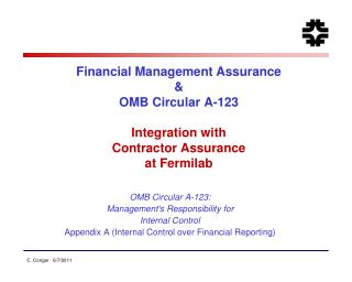 OMB Circular  A-123: Management's Responsibility for  Internal Control