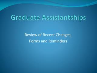 Graduate Assistantships