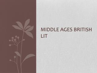 Middle Ages British Lit