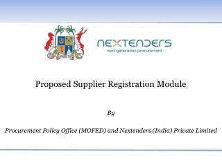 Proposed Supplier Registration Module