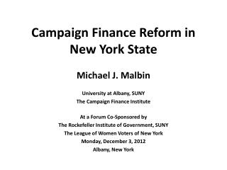 Campaign Finance Reform in New York State