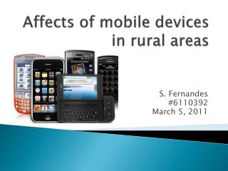 Affects of mobile devices in rural areas