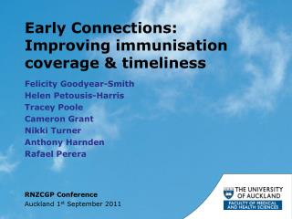 Early Connections: Improving immunisation coverage  &  timeliness