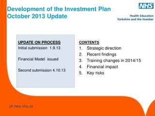 Development of the Investment Plan October 2013 Update