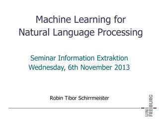 Machine  Learning  for Natural Language Processing
