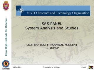 SAS PANEL System Analysis and Studies LtCol BAF (GS) F. ROUVROI, M.Sc.Eng RSTD/MSP