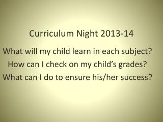 Curriculum Night 2013-14