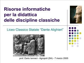 Risorse informatiche per la didattica delle discipline classiche