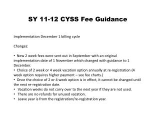 SY 11-12 CYSS Fee Guidance