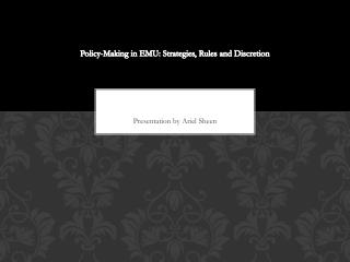 Policy-Making in EMU: Strategies, Rules and Discretion