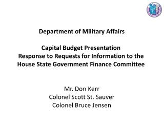 Department of Military Affairs Capital Budget Presentation