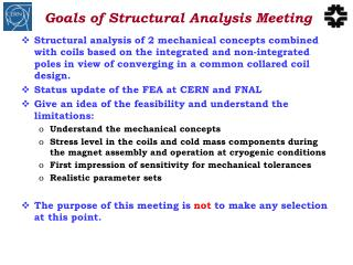 Goals of Structural Analysis Meeting