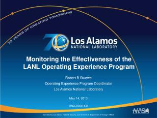 Monitoring the Effectiveness of the  LANL Operating Experience Program
