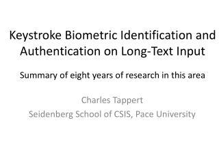 Charles Tappert Seidenberg School of CSIS, Pace University