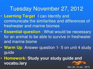 Tuesday November 27, 2012
