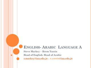 English- Arabic  Language A