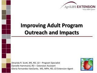 Improving Adult Program Outreach and Impacts