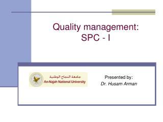 Quality management:  SPC - I