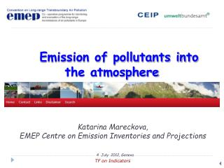 Emission of pollutants into the atmosphere