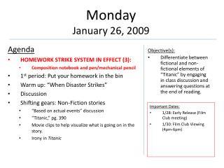 Monday January  26,  2009