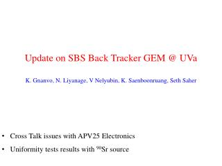Update on SBS Back Tracker GEM @  UVa