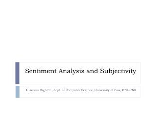 Sentiment Analysis and Subjectivity