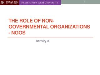 The Role of Non-Governmental organizations -  ngos
