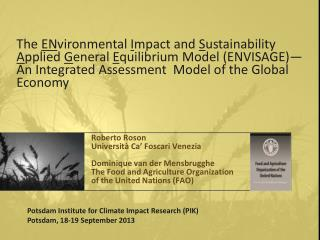 The  EN vironmental I mpact and  S ustainability