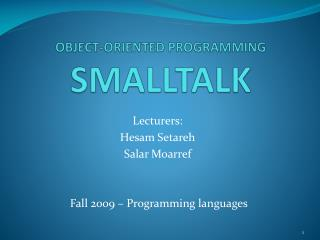 OBJECT-ORIENTED PROGRAMMING SMALLTALK