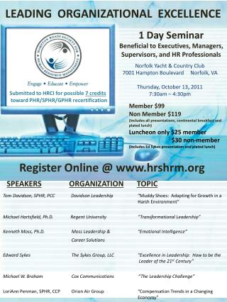 1 Day Seminar Beneficial to Executives, Managers, Supervisors, and HR Professionals
